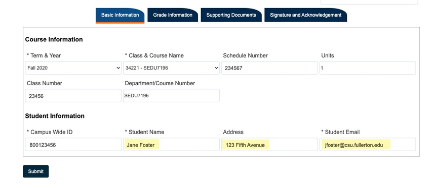 Highlight of Student Name, Address, and Student Email field populated
