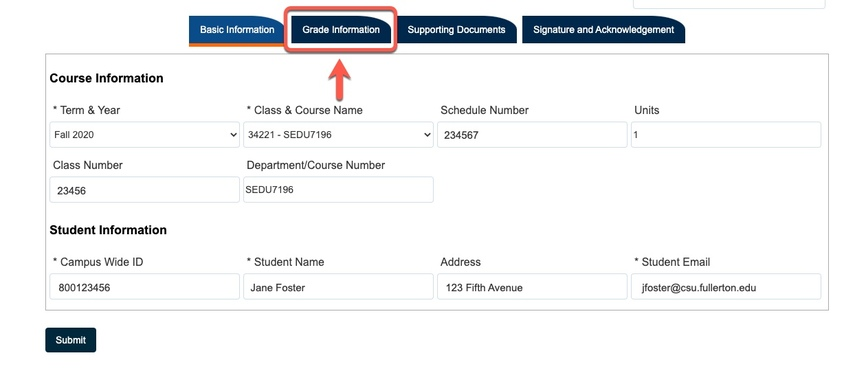Arrow pointed to Grade Information tab