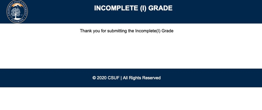 Submitted confirmation screen