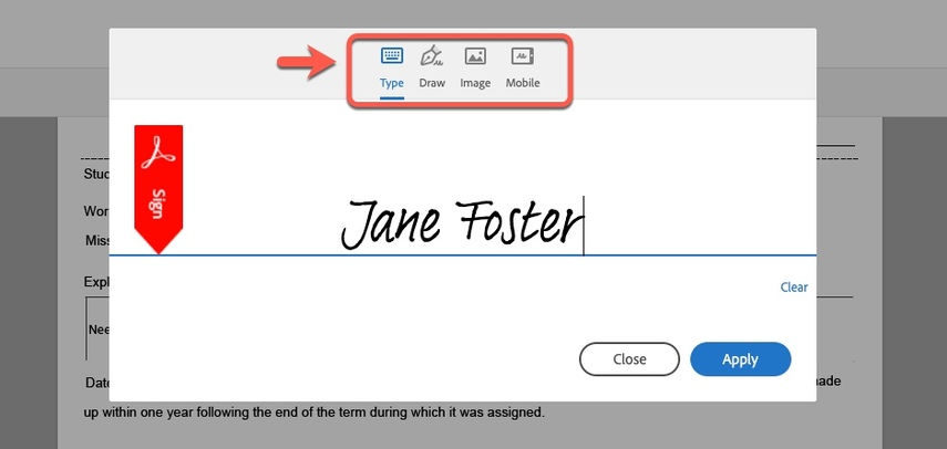 Arrow pointing to Signature option types