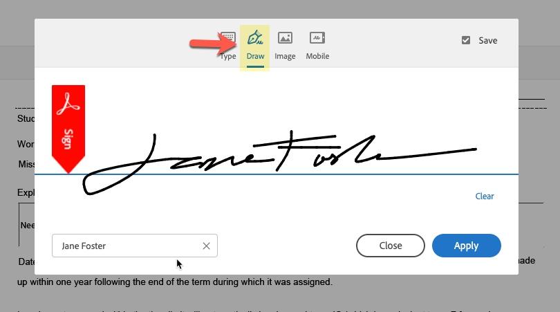 Arrow pointing to Draw signature option