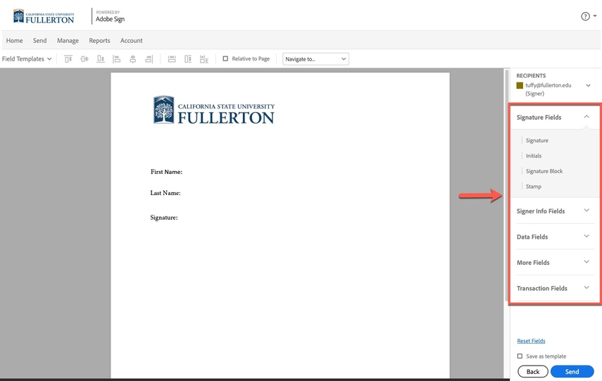 Arrow pointing to field options