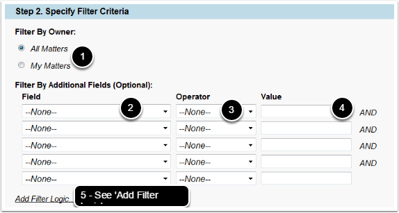 Specify Filter Criteria