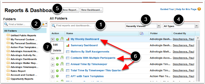 Reports and Dashboards List View / Creation initiation page