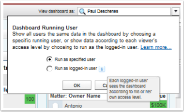 Choose the Running User for your Dashboard