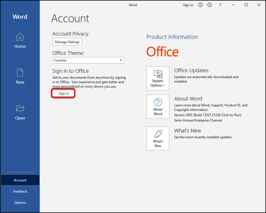 MS Word Account screen