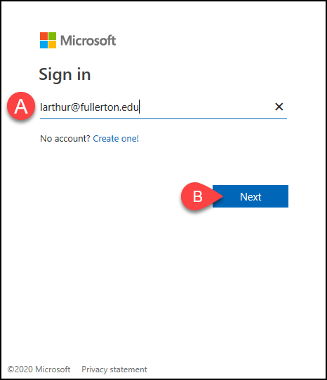 Microsoft sign-in screen