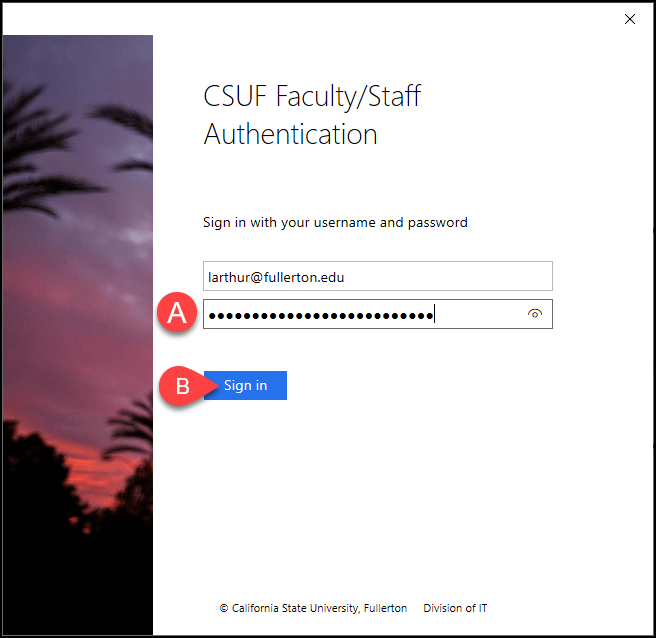 CSUF Microsoft authentication screen
