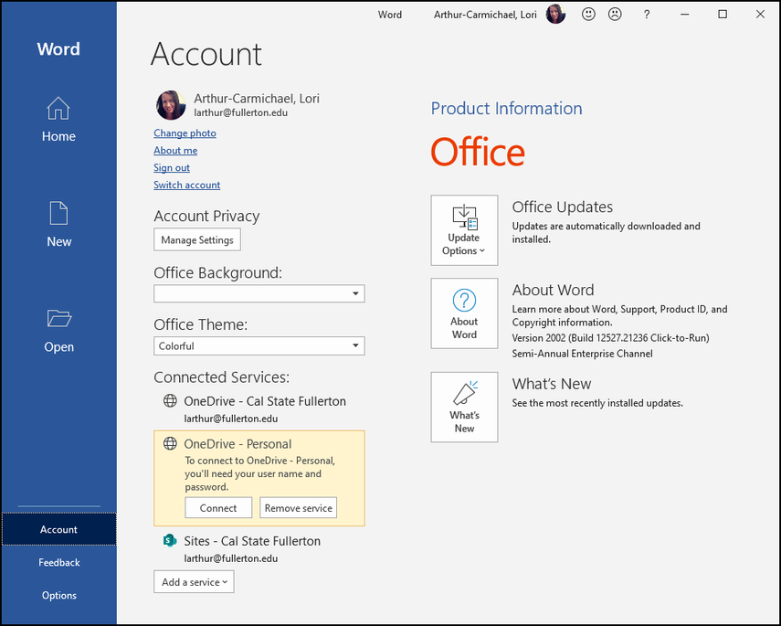 MS Word Account screen after sign-in