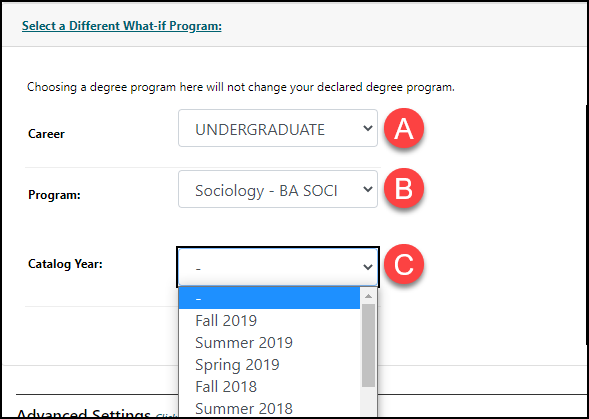 Under the Degree drop-down menu the word Refreshing appears indicating that the system is processing the selection