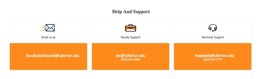 Help and Support links