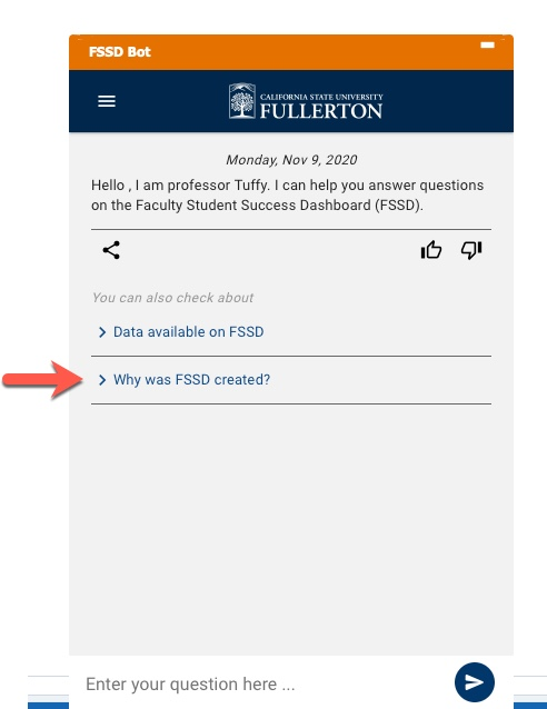 Arrow pointing to question in FSSD bot