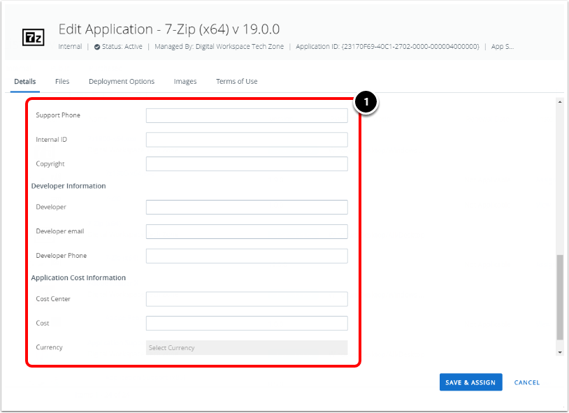 Configuring the Application Details