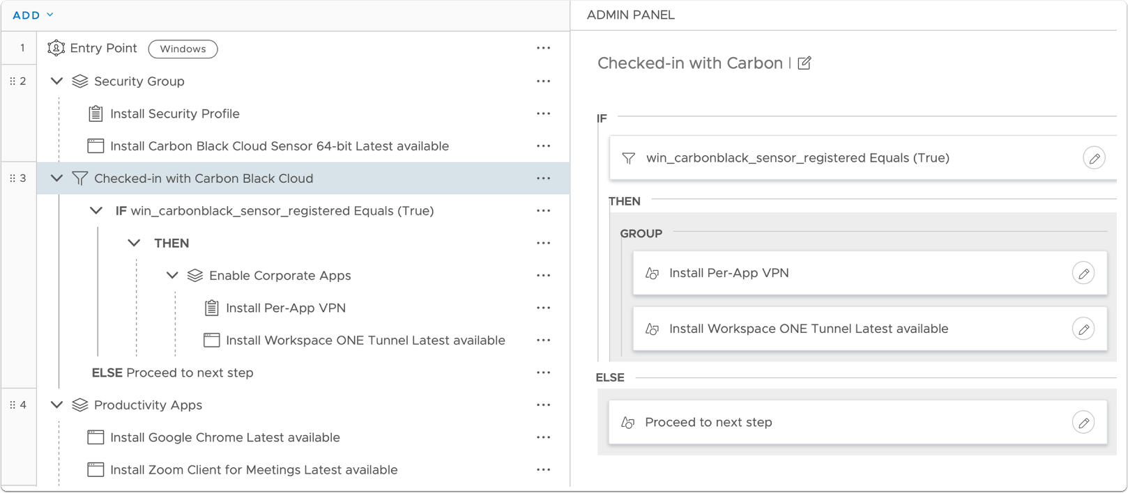 Confirm check-in with Carbon Black Cloud in Freestyle Orchestrator.