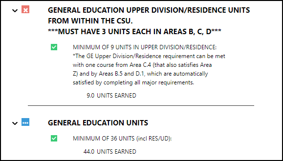 General Education Summary section
