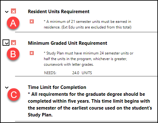 Resident Units Requirement, Minimum Graded Unit Requirement, and Time Limit for Completion