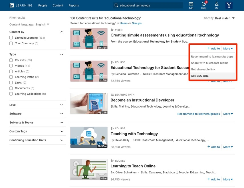 LinkedIn Learning Screenshot showing how to get the SSO URL required for integration into Canvas