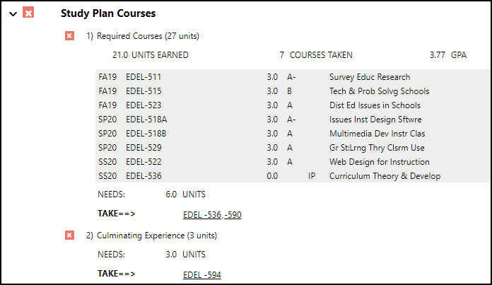 Study Plan Courses