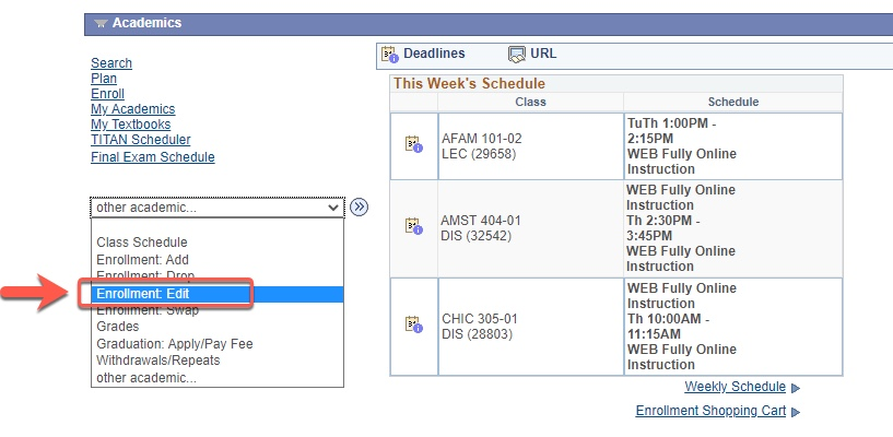 Arrow pointing to Enrollment: Edit selection