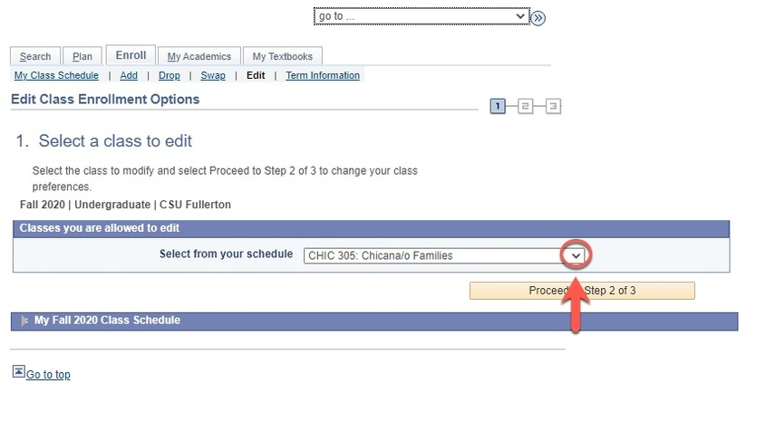 Arrow pointing to the drop-down caret