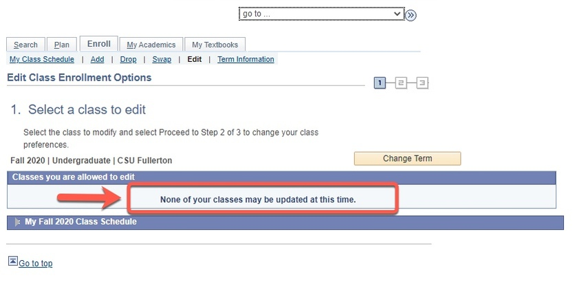 Arrow pointing to 'none of your classes may be updated at this time' notice