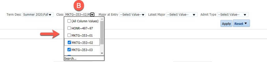 Class drop-down menu and options highlighted