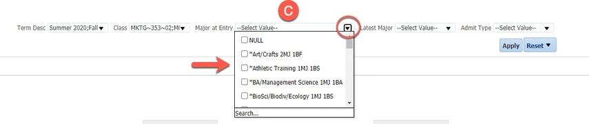 Major at Entry drop-down menu and options highlighted