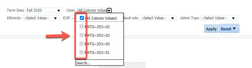Arrow pointing to selection options