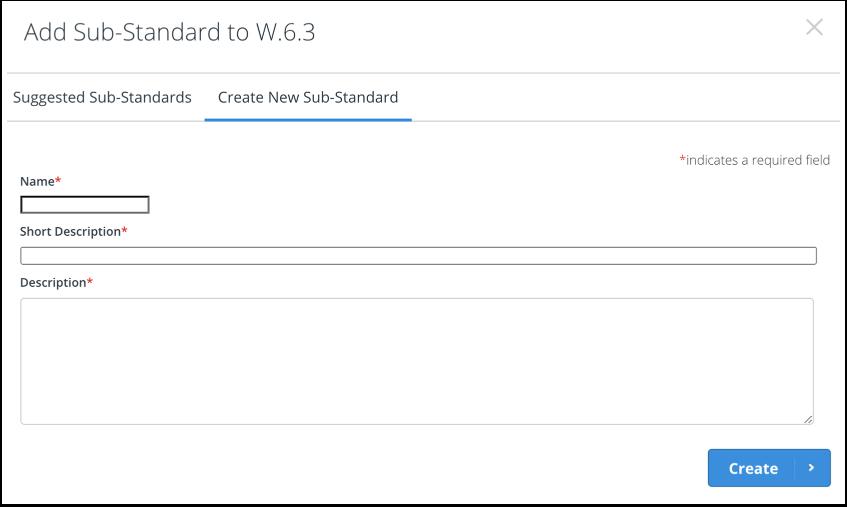 Create new sub-standard