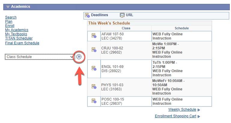choose class schedule