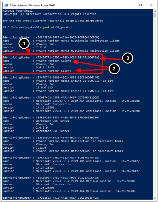 Retrieve Application GUID with gwmi win32_product