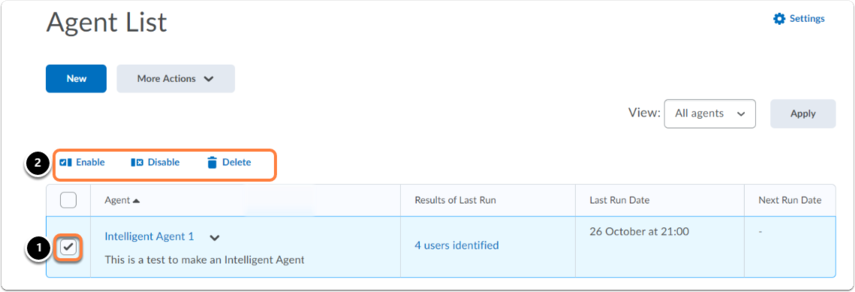 agents list homepage. Select agent and click enable/diasble/delete.