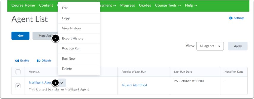 Agent List homepage. Click arrow next to agent's name. Then click Export History in the dropdown menu.