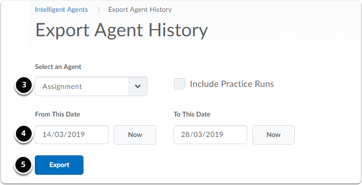 Export Agent History page. Select agent name, set starting and end dat, click export.
