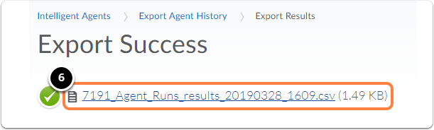 Export success page. Click on the link to download the file.