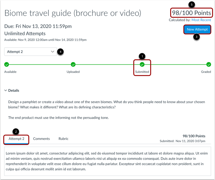View Graded Assignment Using Assignment Enhancements