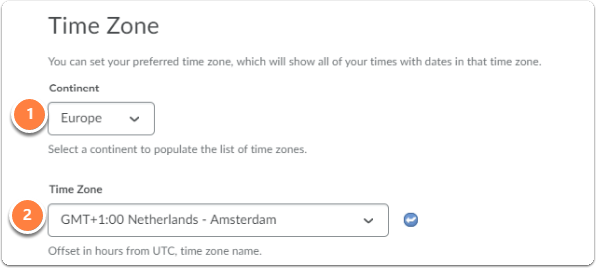 Time zone, you can set preferred content and time zone