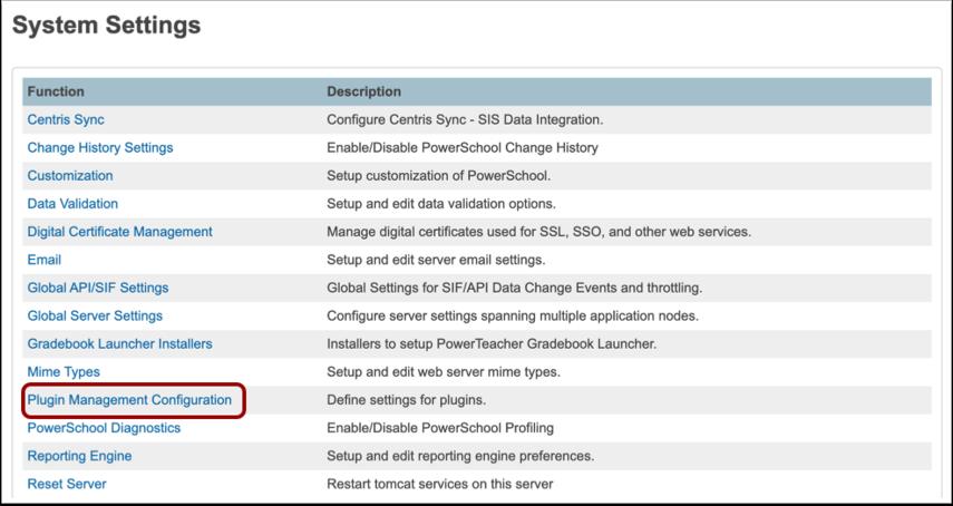 Open Plugin Management Configuration