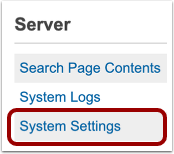 Opne Server System Settings