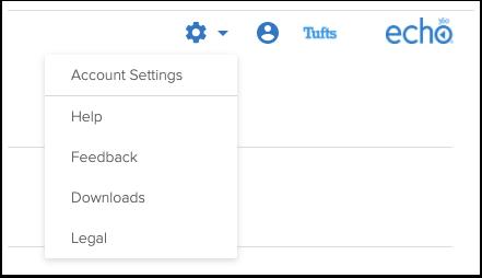 Echo360 account settings menu