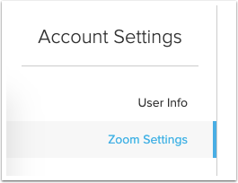 Account settings with Zoom settings option highlighted