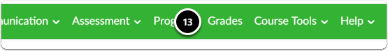 navigate to grades in the green bar menu