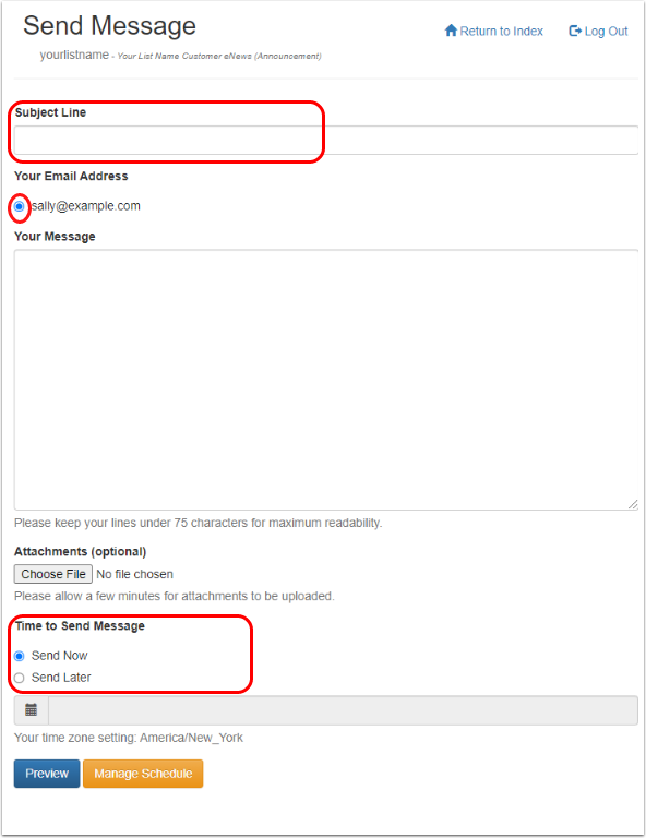 """Type in your subject, message and select an email address where you would like to receive a confirmation. Click on """"preview"""" to see how the message looks like."""