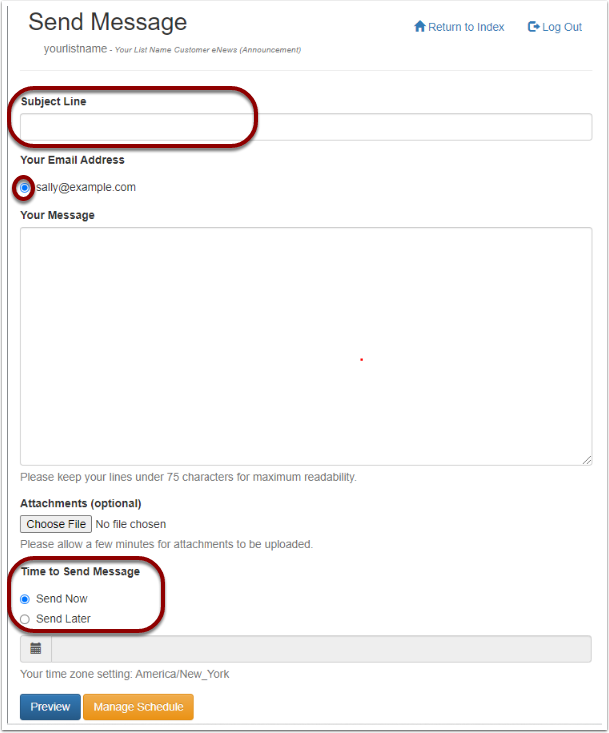"""To use the web interface, log into your mail-list account, click on """"Send A Message To Your List"""" and fill out the details:"""