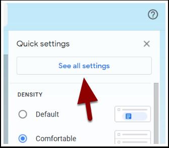 Gmail quick settings menu detail