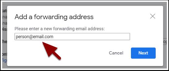 Add a fowarding address window
