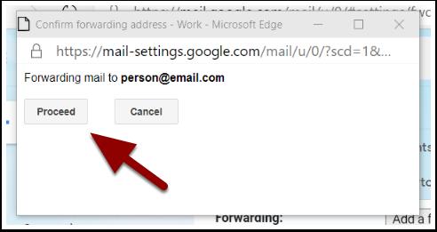 Confirm forwarding address  window
