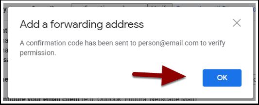 forwarding confirmation window