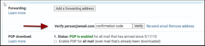 forward tab forwarding address detail