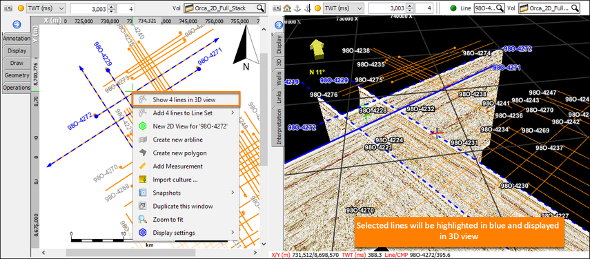 Selecting 2D lines in Map View